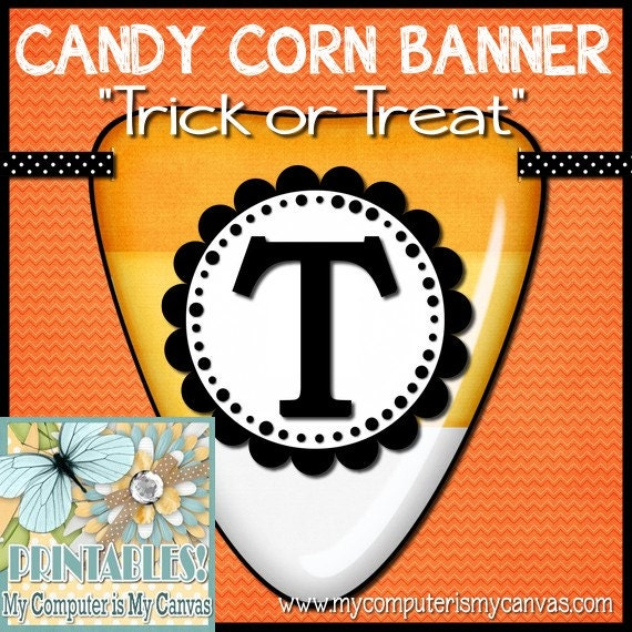 Halloween Candy Corn Trick or Treat Banner - Printable INSTANT DOWNLOAD