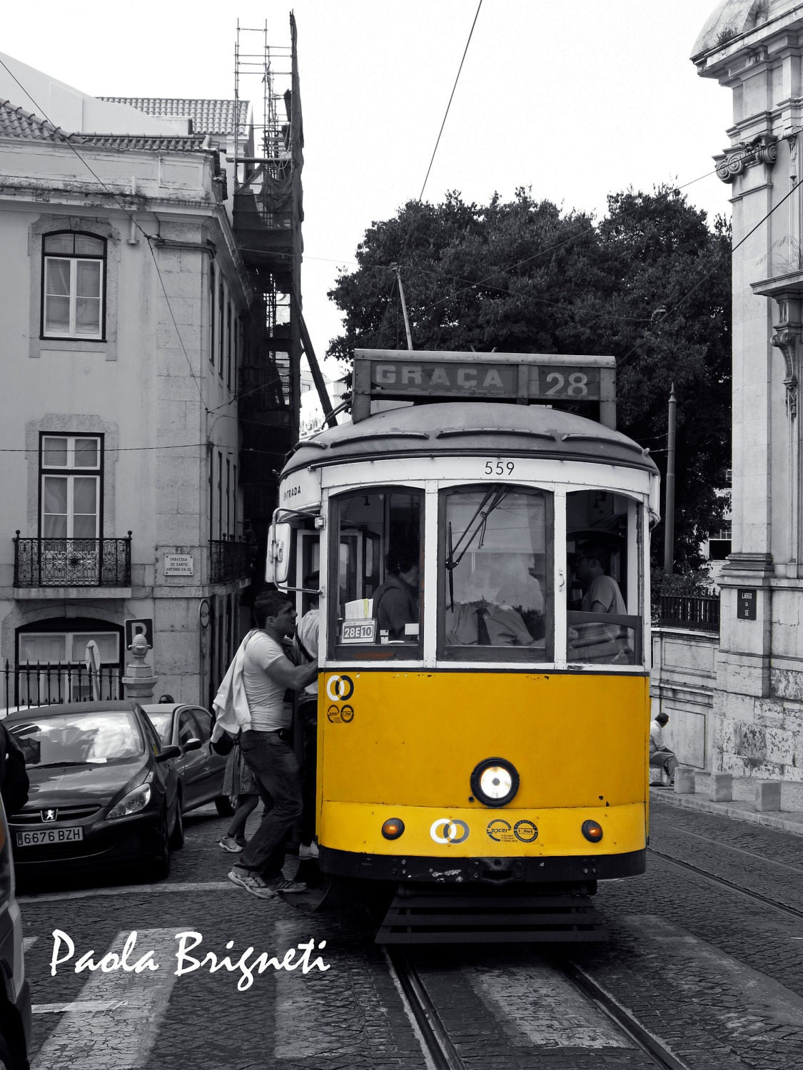 Travel Photography Home Decor Yellow Cable Car Lisbon Portugal, 8x10, Geometric, Wall Art, Monochrome - WorldPhotosByPaola