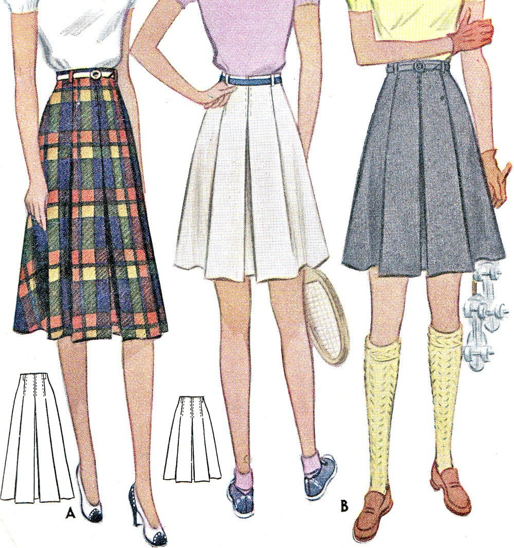 1940s skirt pattern mccall 3841 box pleated mini or by