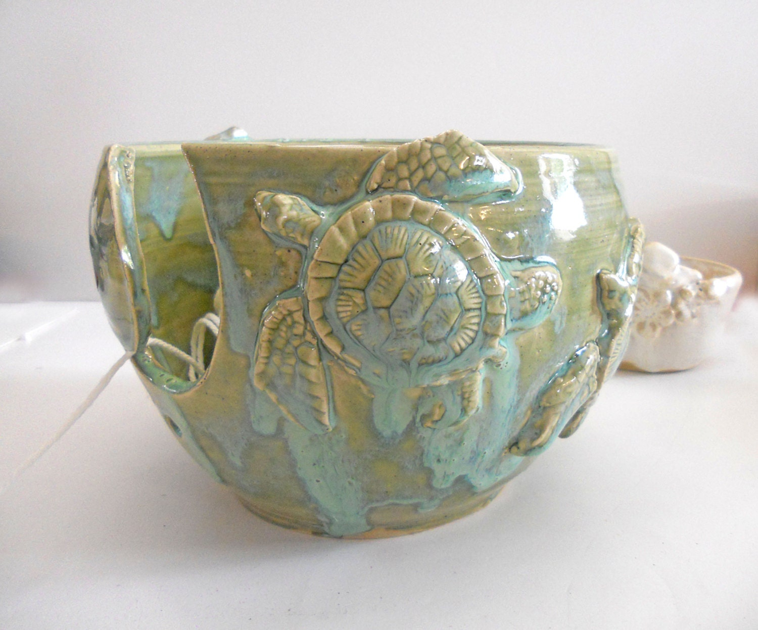 LARGE Sea Turtle Yarn Bowl Knitting Bowl Beach Handmade Pottery IN PRODUCTION