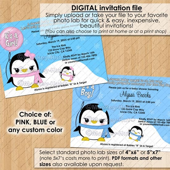 snow angel penguin baby shower invitations girl pink boy blue