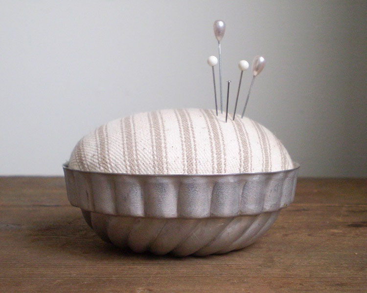 Jello Mold Pincushion - Rustic Natural Cotton Ticking - smilemercantile