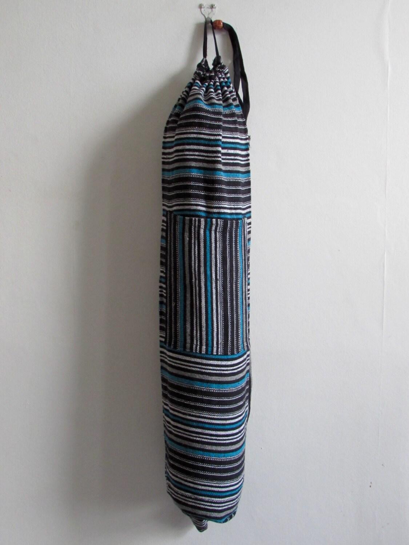 Yoga Mat Bag Pilates Mat Bag handmade Woven Cotton Multi Colour Stripes   Free UK Delivery