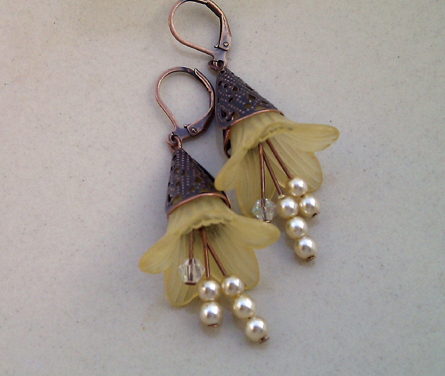 Yellow Lucite, Pearl and Crystal Trumpet Flower earrings with Brass Antique Bell Caps