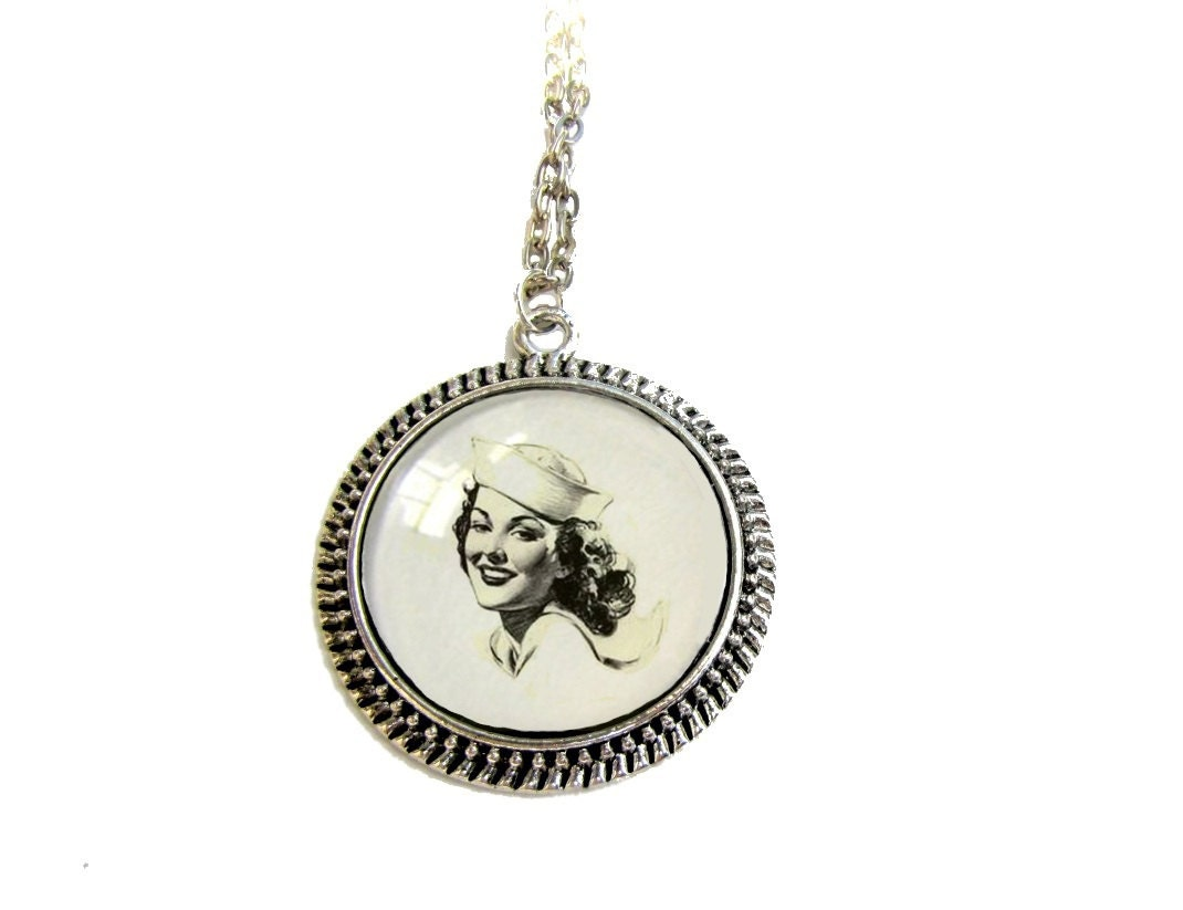 Vintage Navy Female Sailor Art Pendant 1940s WWII Vintage Illustration - MyDifferentStrokes
