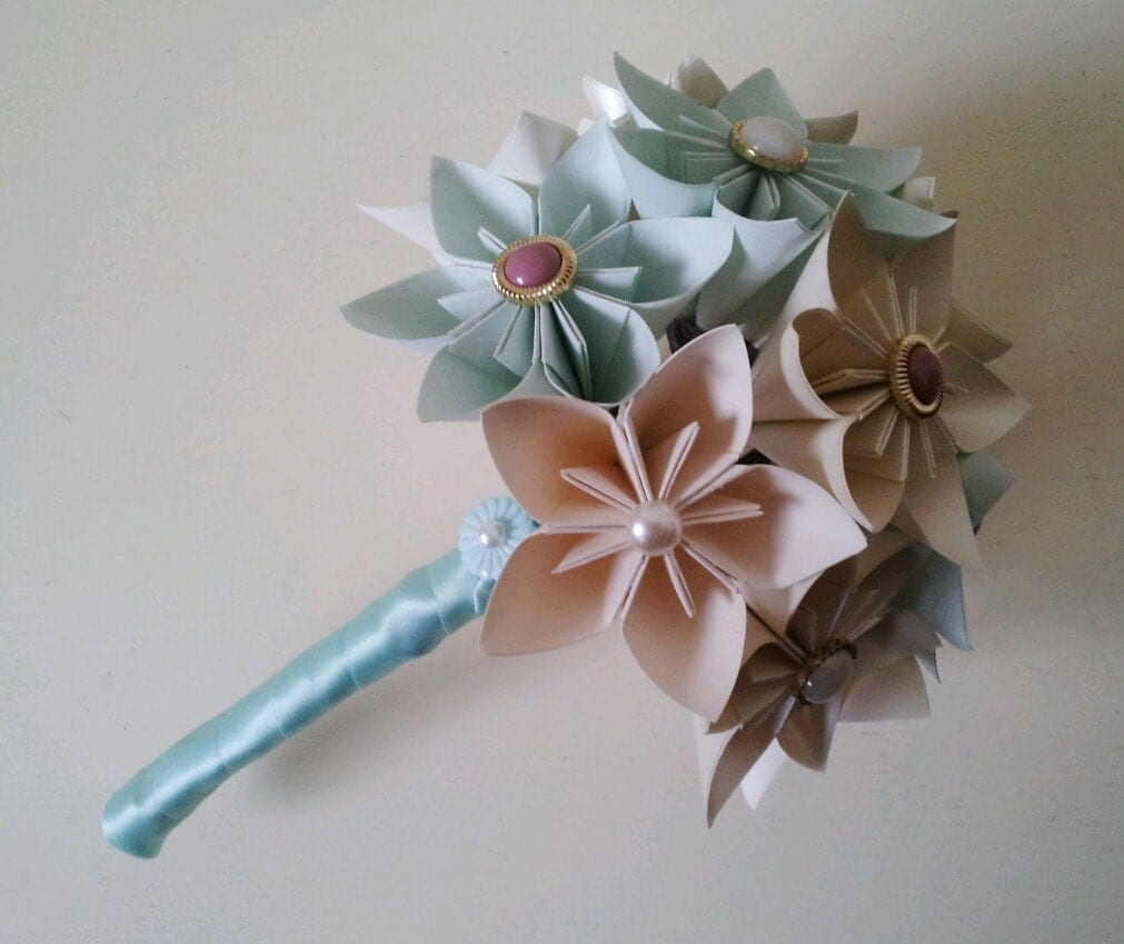 Items Similar To Paper Flower Origami Wedding Bouquet Buttonhole With Vinta