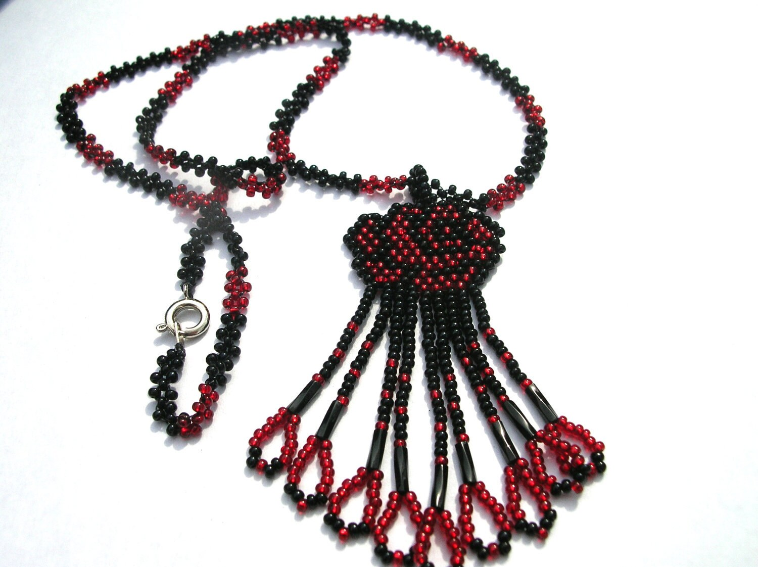 Beautiful Black and Red Beaded Necklace and Rose pendant