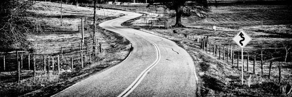 Black and White Winding Road Art Print