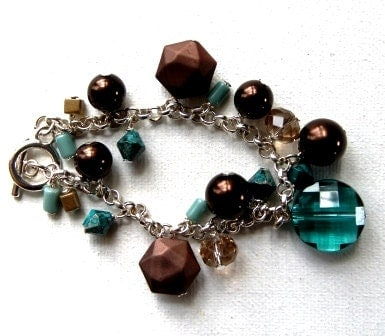 teal, brown, gold, and taupe acrylic, crystal and faux pearl bracelet, ocean dunes collection - amusedjewelry