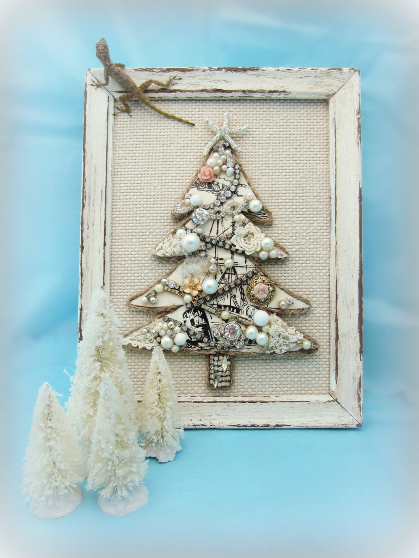 Vintage Jewelry Christmas Tree, Jewelry Mosaic Nautical Xmas Wall Decor, Bejeweled Shabby Christmas Decor - northandsouthshabby