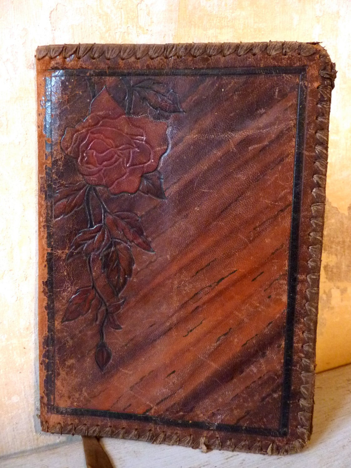 Vintage Book Cover Journal : Vintage fifties french leather journal book by