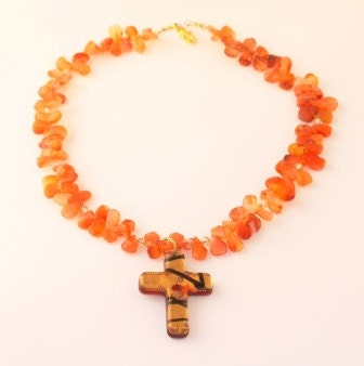 Murano glass and carnelian necklace - Autunno - VenetianMemories