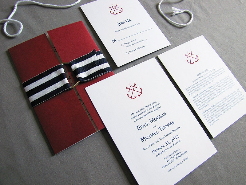 Modern Nautical Wedding Invitations From wickedbride