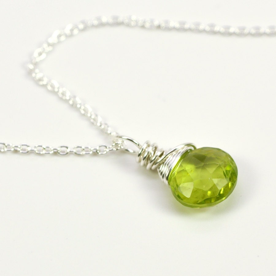 August birthstone peridot necklace olive green wire wrapped in