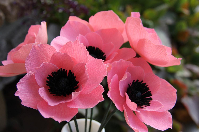 Crepe Paper Flowers Pink Anemone Flowers by FlowerBazaar on Etsy