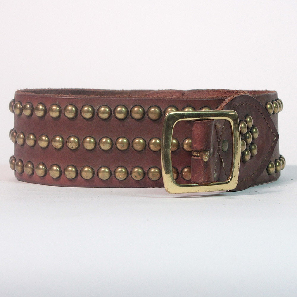 vintage leather belt studded kidney belt by carlaandcarla