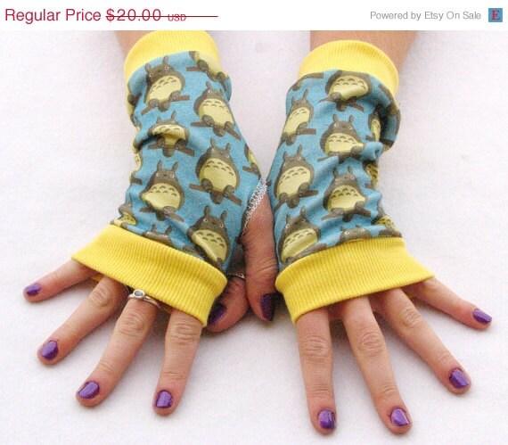 ON SALE Totoro fingerless gloves fan art print eco friendly - Steampunkwolf