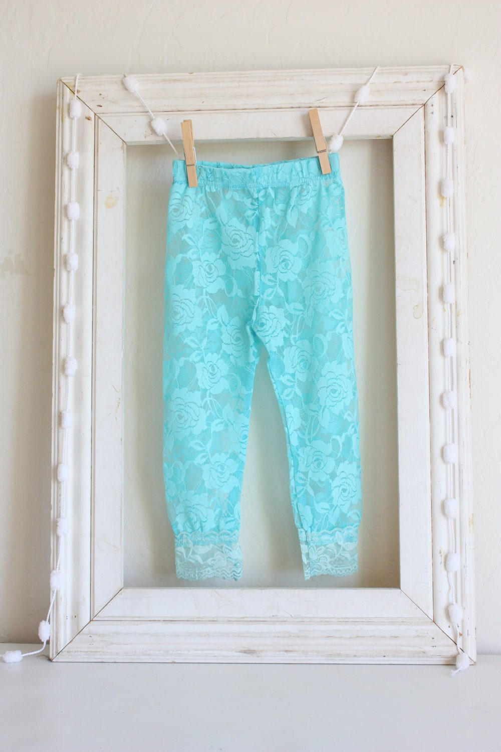 Items similar to Leggings Baby Lace Leggings Auqa on Etsy