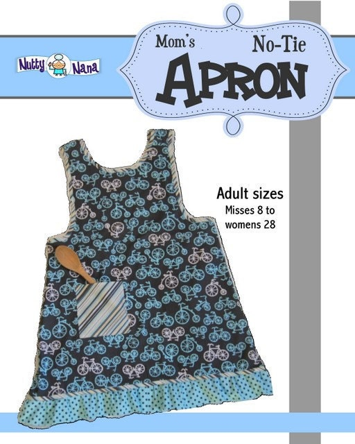 Mom's No-Tie Apron PDF pattern for adult sizes by