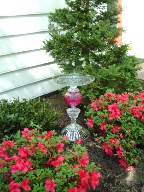 "Majestic bird bath garden art ""The Olympia"" is made from repurposed glass. Upcycled yard art.  Vintage glass garden art."
