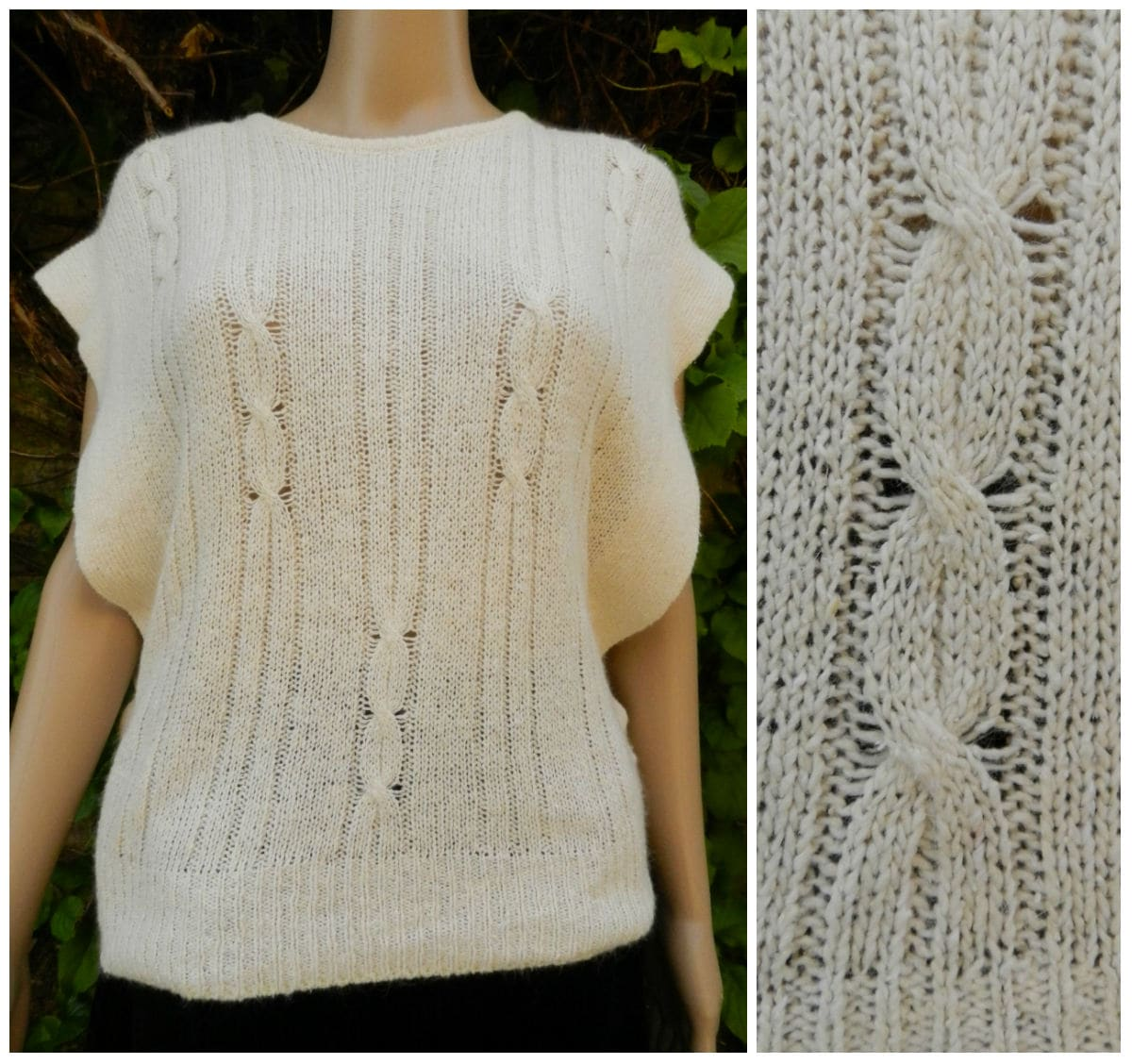 80s SILK ANGORA soft finely knitted cream sleeveless sweater top slit sides cable knit M  L
