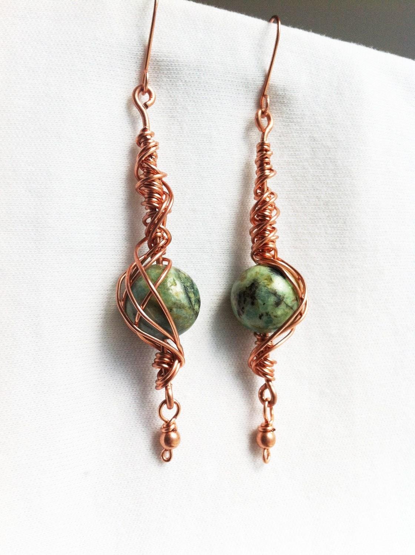 NEPTUNE'S SONG - Chrysocolla Copper Wrapped Earrings