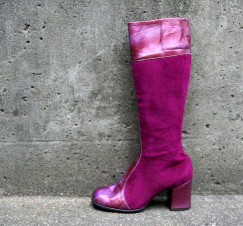 LADY STARDUST 70s Glam Magenta Leather Boots, 6