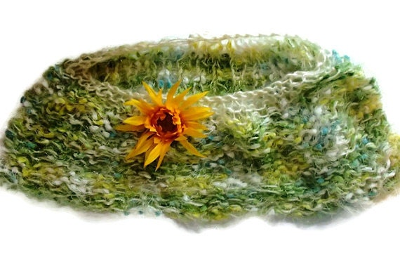 Green and Yellow Shawl for Young Girl with Bright Yellow Flower - TamiAndDani