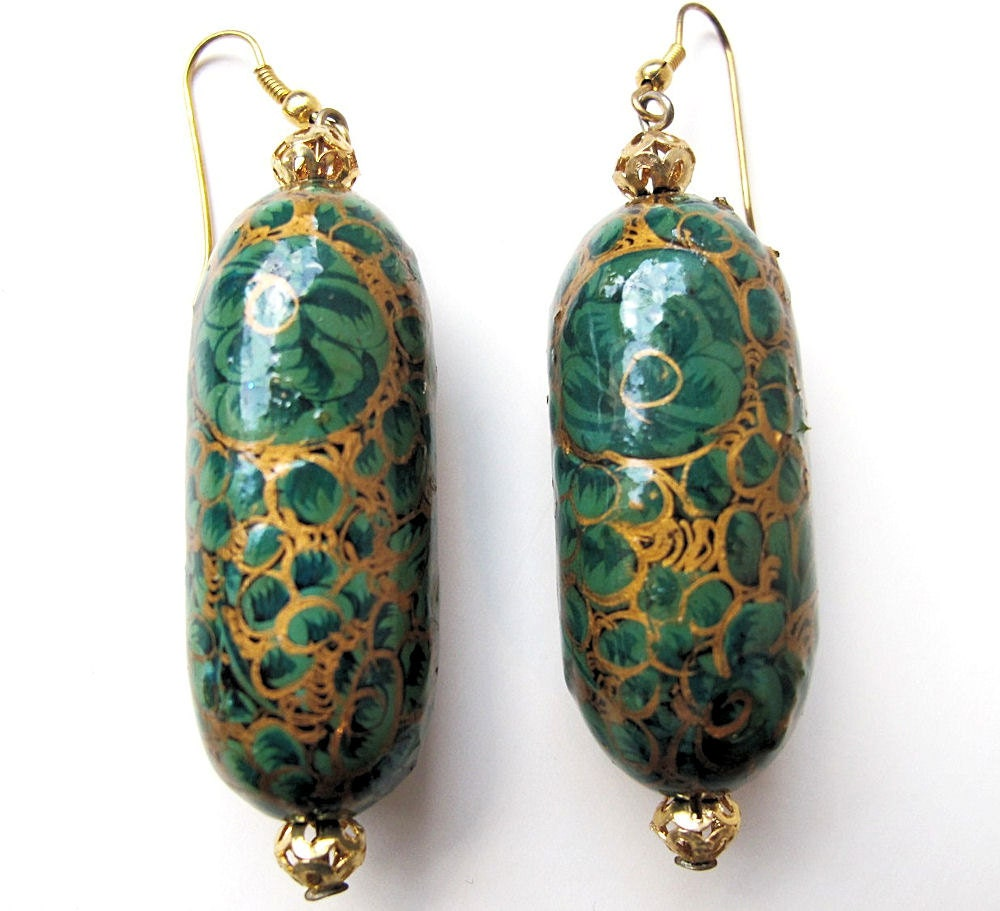 Vintage paper mache earrings hand painted from by oldsilkroute for How to make paper mache jewelry