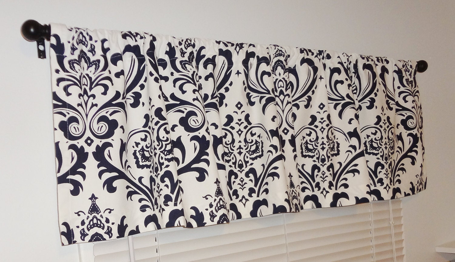 Curtain valance topper window treatment 52x15 navy by homeliving