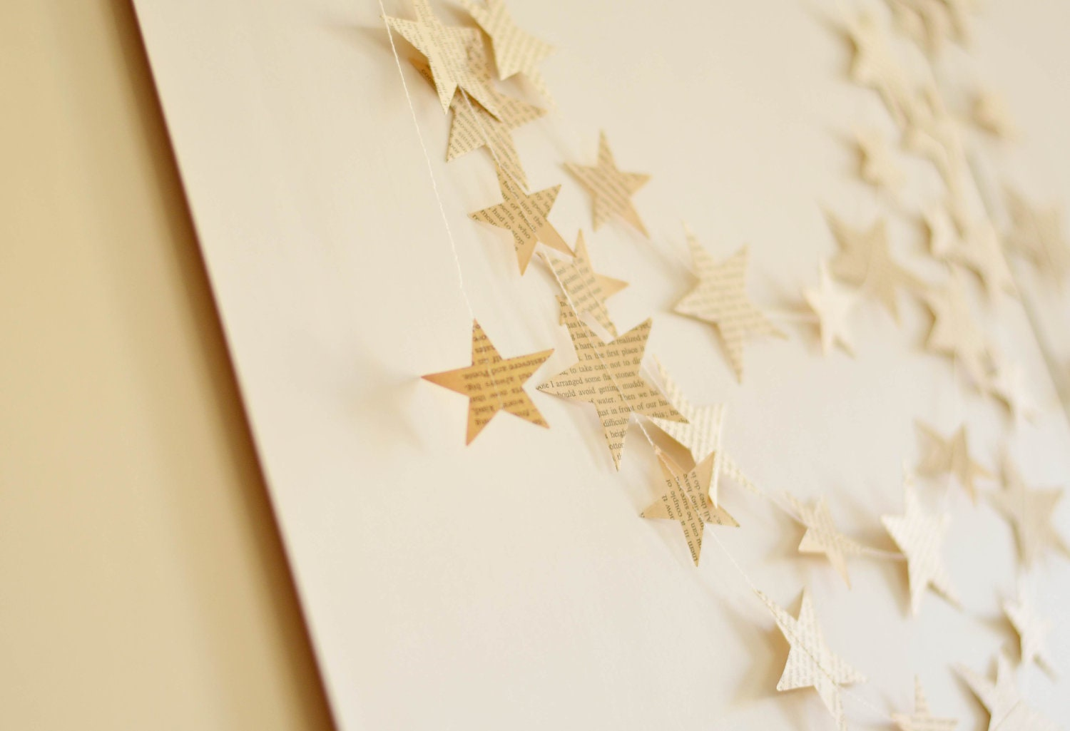 Eco Wedding Paper Garlands, Recycled vintage paper wedding decor, Paper Star Garland - CoutureByAyca