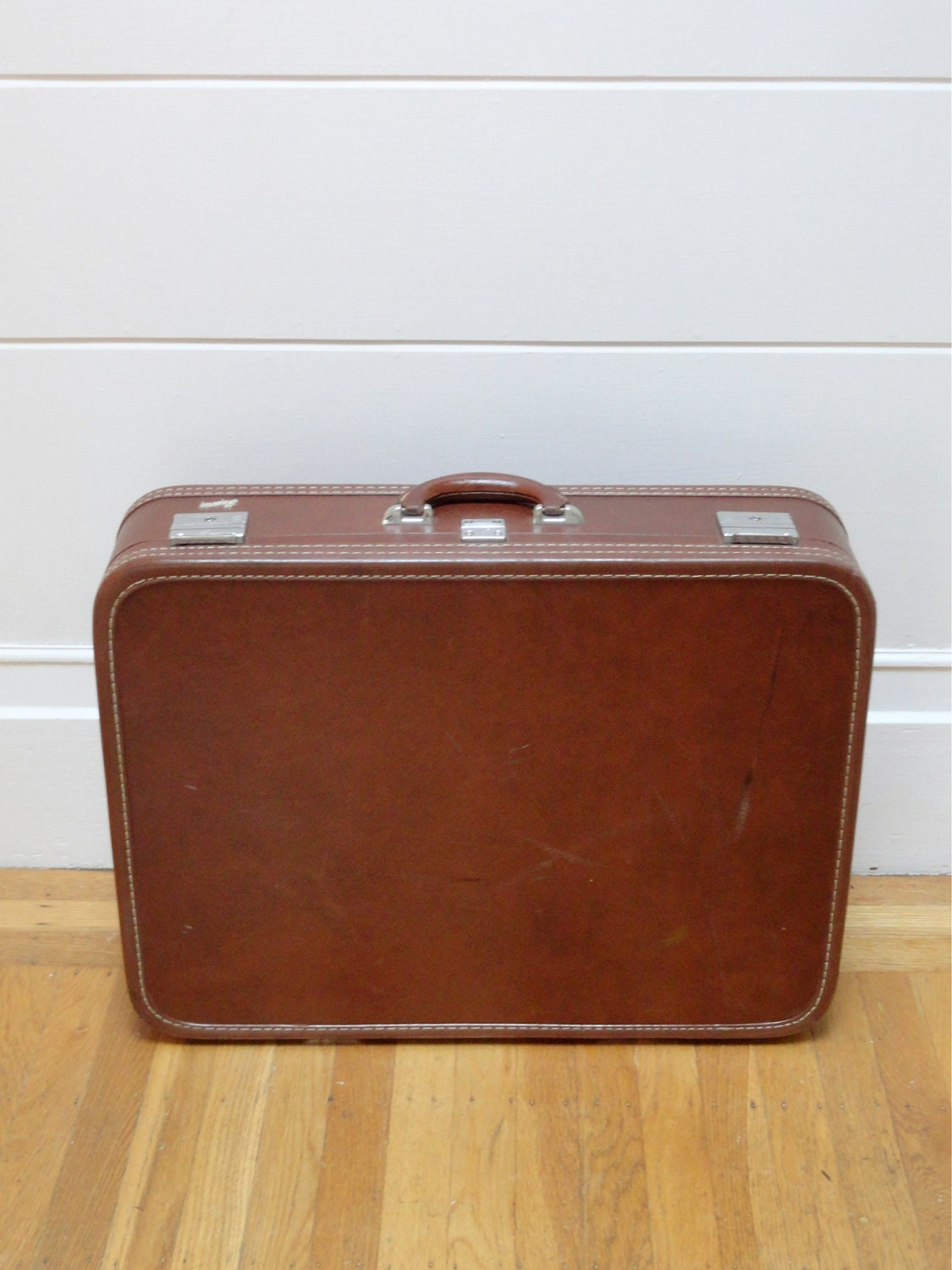 Vintage 1960's Oxblood Brown Leatherette Skyway Skinny Suitcase Luggage With Nickel & Bold Stitch Details - JoulesJewels