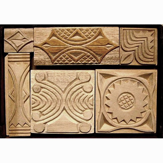 Oshiwa carved wood printing stamp set organic shapes by