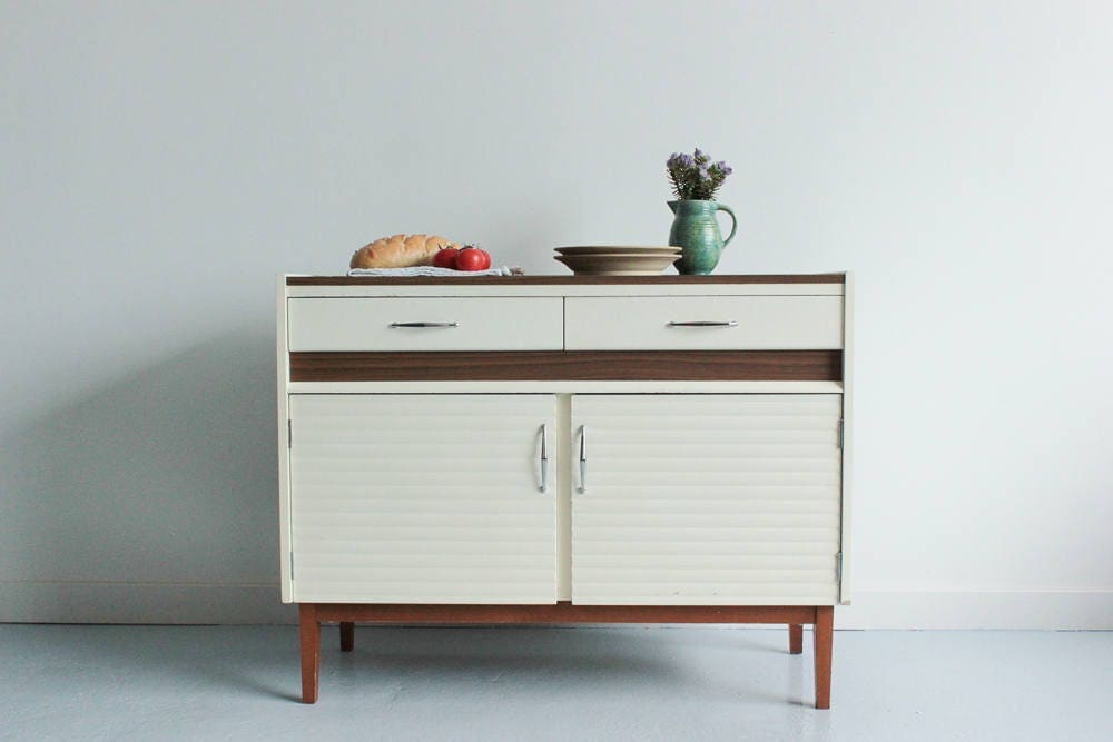 Vintage 1970s White and Wood Effect Kitchen Cabinet  Sideboard