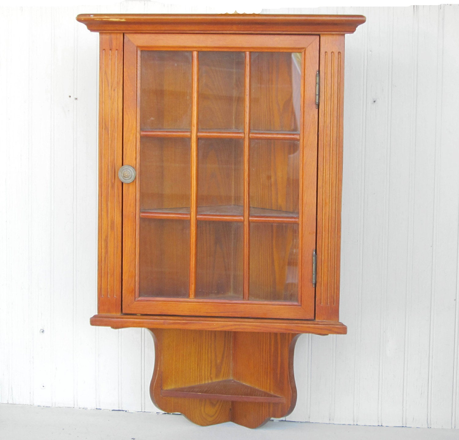 wooden wall hanging corner cabinet curio display by thejunkman. Black Bedroom Furniture Sets. Home Design Ideas