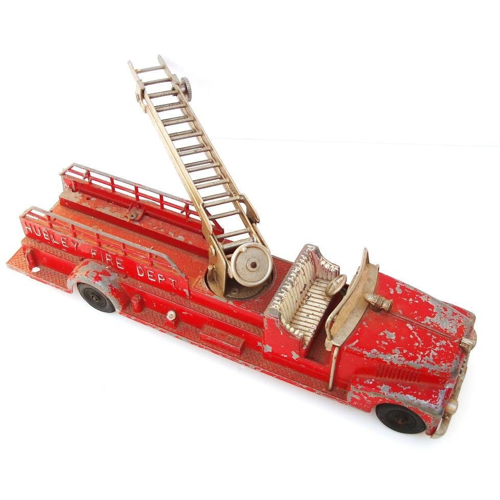 1950s Toys Metal Curtain Wall : Hubley truck s red fire die cast metal by