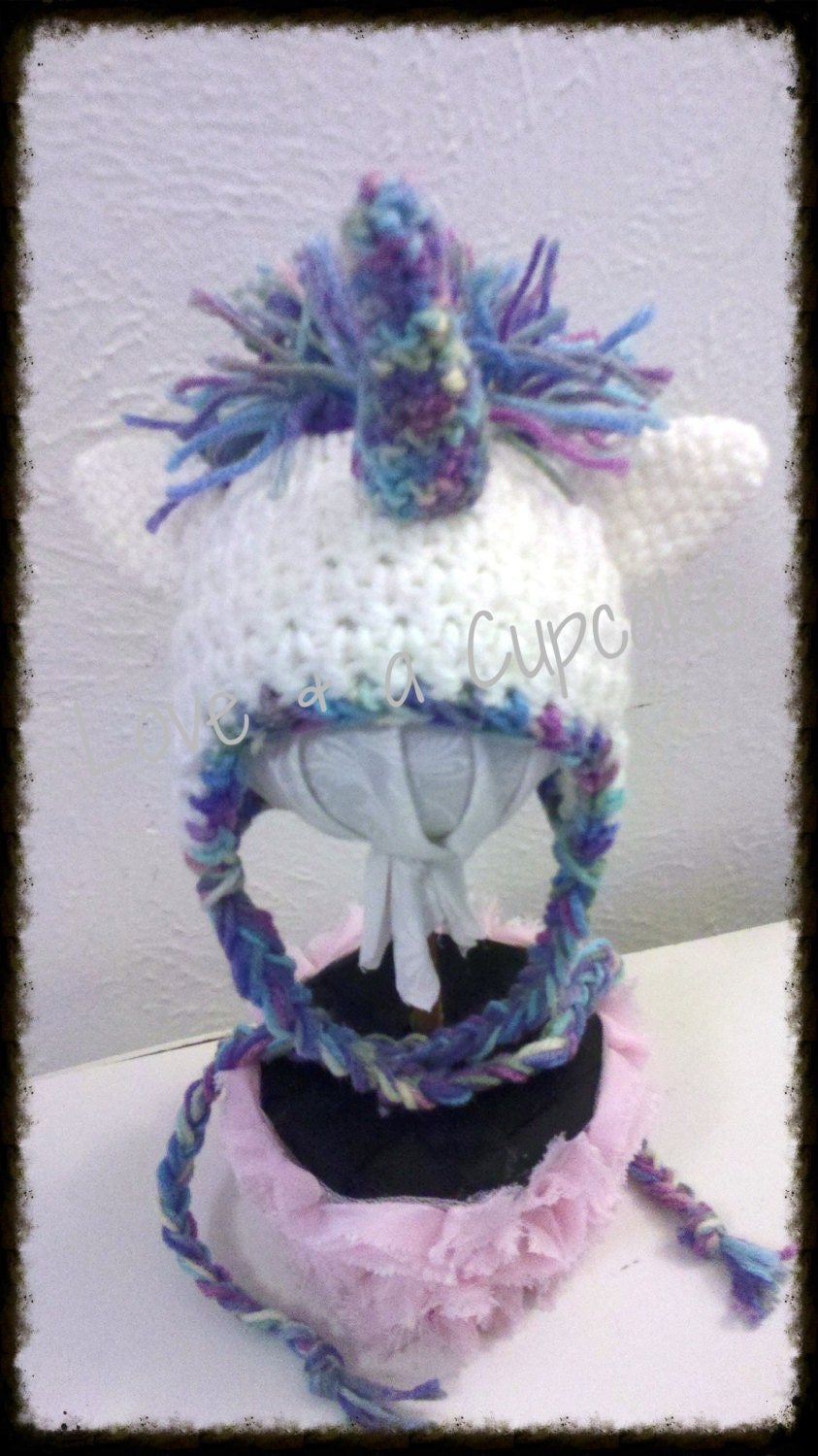 Crochet Unicorn Hat 0-6 months & 6-12 months by LoveNaCupcake