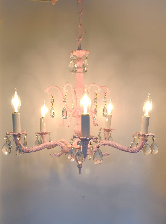 vintage chandelier pink by brideystreasures