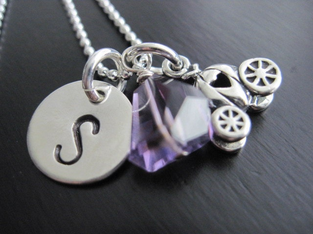 Sterling Silver Princess Necklace Hand Stamped Initial Amethyst