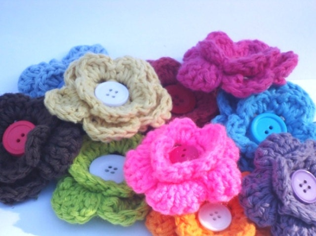 Crochet Flowers set of 3