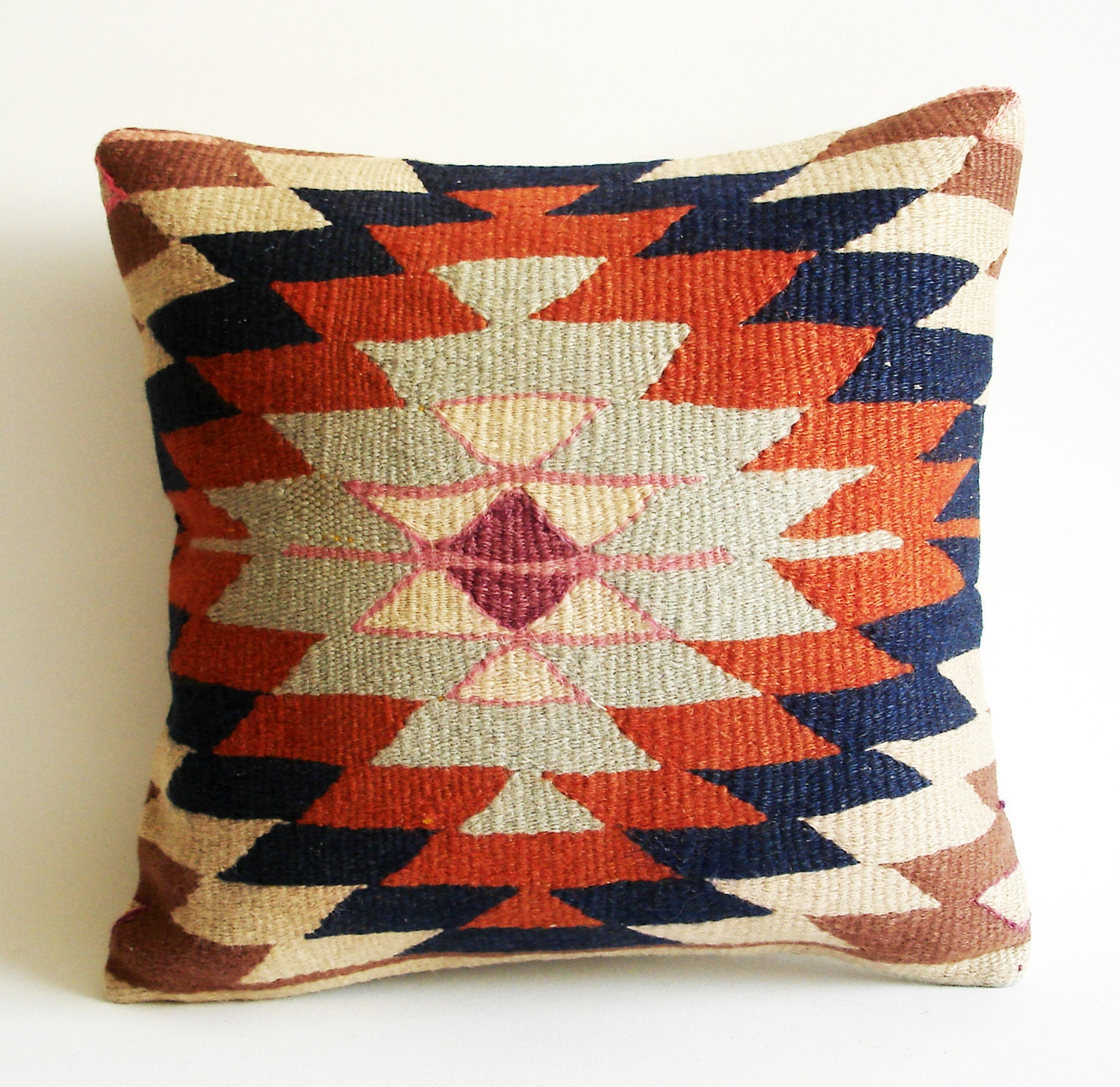 Sukan / Handwoven Vintage Turkish Kilim Pillow Cover by sukan