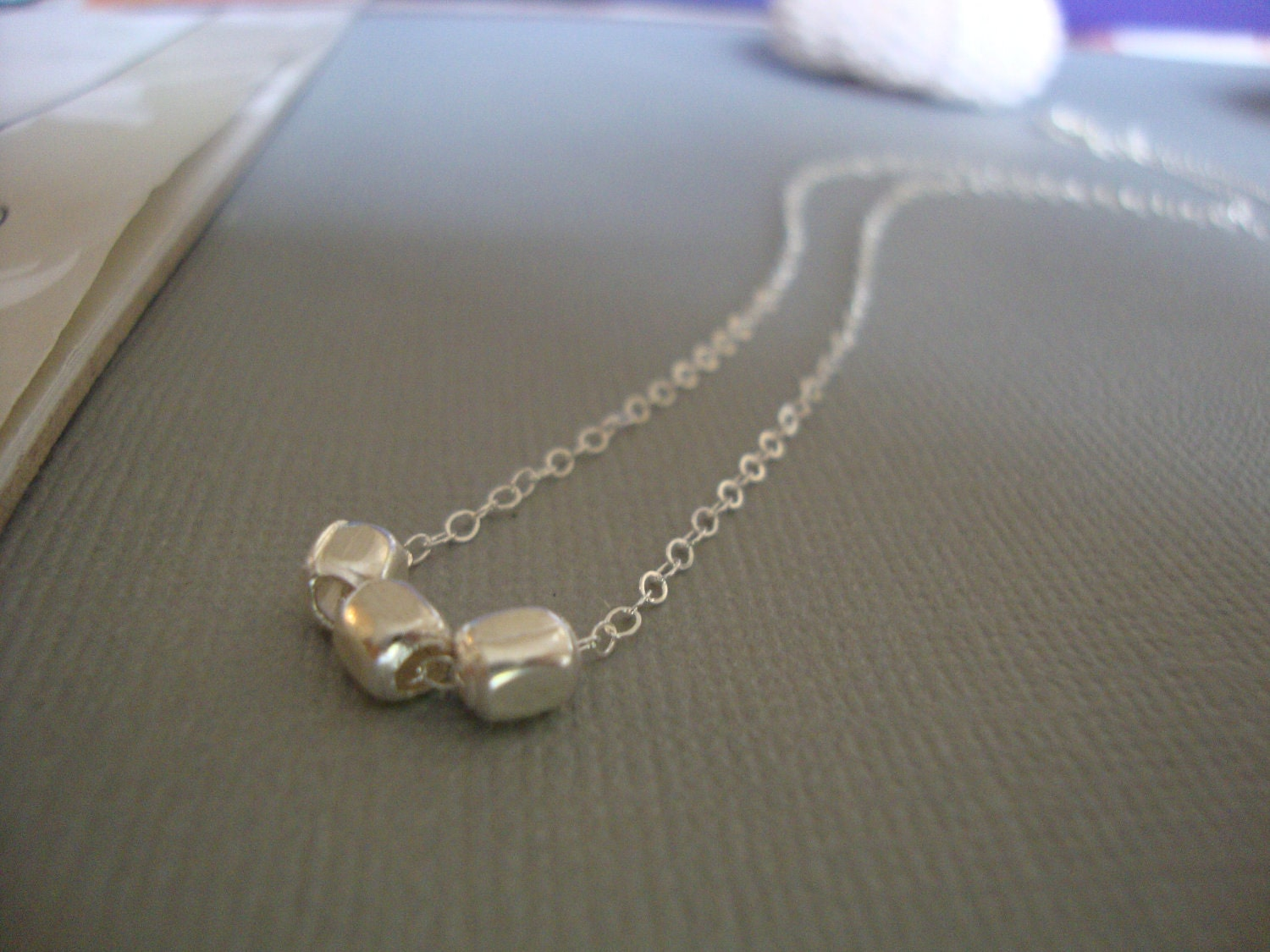 threesome - tiny barrel silver beads - minimal and modern jewelry