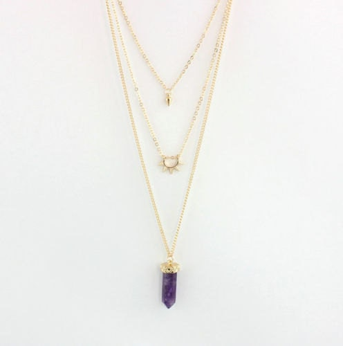 AMETHYST LAYERED NECKLACE  Womens Gold Choker Healing Crystal Modern Spike Geometric Layering Necklace Boho Hexagon Jewelry Jewellery Gift