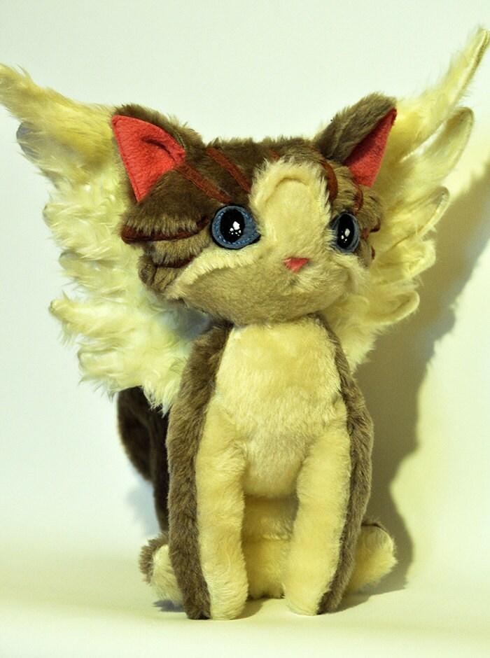 Fantasy winged cat/ soft toy cat / original LELUKO/ hand made toys/ stuffed toys/ grey kitten - LelukoToys