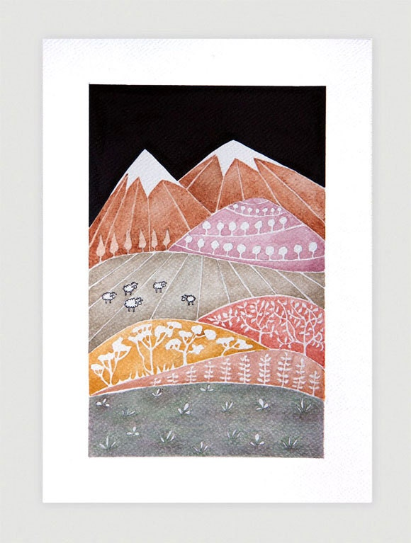 Landscape, Print of watercolor painting, mountains illustration, kids wall art, whimsical by VApinx - VApinx