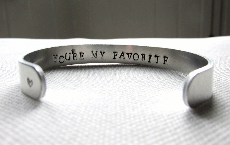 Secret Message Bracelet Youre My Favorite or Personalized Cuff Custom Hand Stamped Jewelry