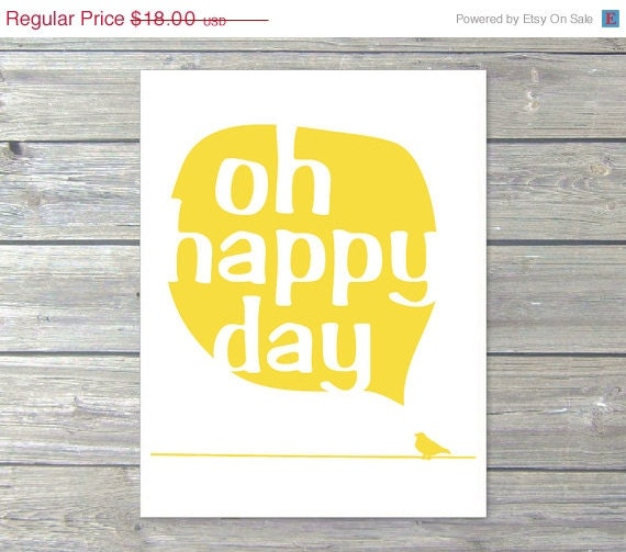 Oh happy day bird digital art print power line text by for Art sites like etsy