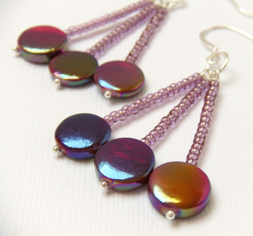 Colorful Metallic Dangle Earrings - Berry Pop - merryalchemy