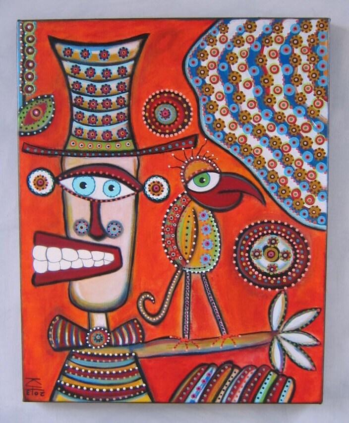 Pas de soucis, 16 X 20 Acrylique peinture sur toile, Art populaire, Art brut, de figue Jam Studio