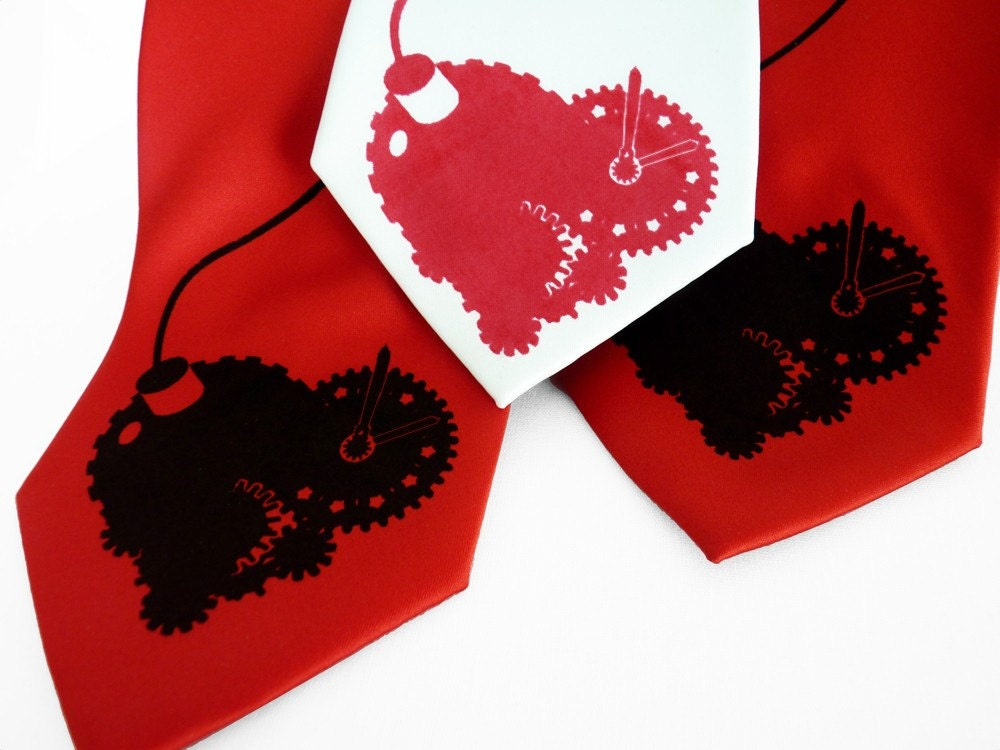 Valentine's Gifts for Men - Tender Time Bomb Tie - Clockwork Heart Tie in Red or White